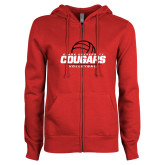 ENZA Ladies Red Fleece Full Zip Hoodie-Cougars Volleyball Stacked