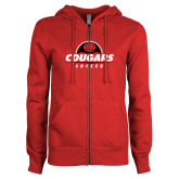 ENZA Ladies Red Fleece Full Zip Hoodie-Cougars Soccer Half Ball
