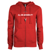 ENZA Ladies Red Fleece Full Zip Hoodie-Clark Cougars Lacrosse