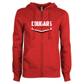ENZA Ladies Red Fleece Full Zip Hoodie-Cougars Baseball Plate