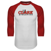 White/Red Raglan Baseball T Shirt-Primary Logo