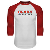 White/Red Raglan Baseball T Shirt-Clark Athletics