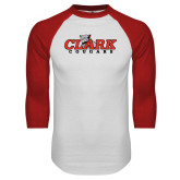 White/Red Raglan Baseball T Shirt-Secondary Logo