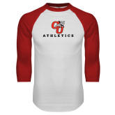 White/Red Raglan Baseball T Shirt-CU Athletics Logo