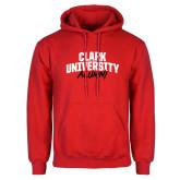 Red Fleece Hoodie-Clark University Alumni Stacked