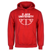 Red Fleece Hoodie-Clark Cougars Basketball Stacked