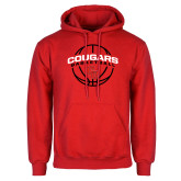 Red Fleece Hoodie-Cougars Basketball Arched Ball