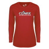 Ladies Syntrel Performance Red Longsleeve Shirt-Primary Logo