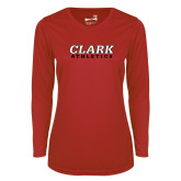 Ladies Syntrel Performance Red Longsleeve Shirt-Clark Athletics