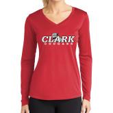 Ladies Syntrel Performance Red Longsleeve Shirt-Secondary Logo