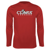 Performance Red Longsleeve Shirt-Secondary Logo