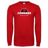 Red Long Sleeve T Shirt-Cougars Soccer Half Ball