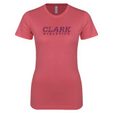 Next Level Ladies SoftStyle Junior Fitted Pink Tee-Clark Athletics Pink Glitter
