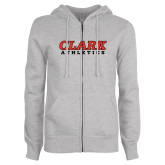 ENZA Ladies Grey Fleece Full Zip Hoodie-Clark Athletics