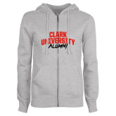 ENZA Ladies Grey Fleece Full Zip Hoodie-Clark University Alumni Stacked