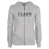 ENZA Ladies Grey Fleece Full Zip Hoodie-Clark Athletics Graphite Glitter