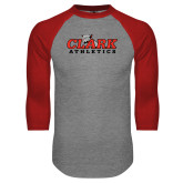 Grey/Red Raglan Baseball T Shirt-Primary Logo
