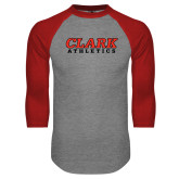 Grey/Red Raglan Baseball T Shirt-Clark Athletics