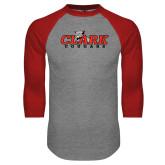 Grey/Red Raglan Baseball T Shirt-Secondary Logo
