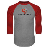 Grey/Red Raglan Baseball T Shirt-CU Athletics Logo