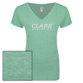 ENZA Ladies Seaglass Melange V Neck Tee-Clark Athletics White Soft Glitter