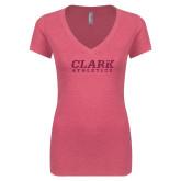 Next Level Ladies Vintage Pink Tri Blend V Neck Tee-Clark Athletics Hot Pink Glitter