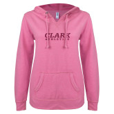 ENZA Ladies Hot Pink V Notch Raw Edge Fleece Hoodie-Clark Athletics Hot Pink Glitter