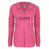 ENZA Ladies Hot Pink Light Weight Fleece Full Zip Hoodie-Clark Athletics Hot Pink Glitter