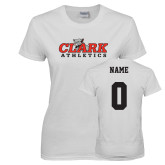 Ladies White T Shirt-Primary Logo, Custom Tee w/ Name and #