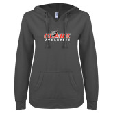 ENZA Ladies Dark Heather V Notch Raw Edge Fleece Hoodie-Primary Logo