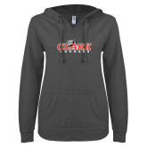 ENZA Ladies Dark Heather V Notch Raw Edge Fleece Hoodie-Secondary Logo