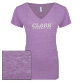 ENZA Ladies Violet Melange V Neck Tee-Clark Athletics White Soft Glitter
