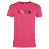 Ladies Fuchsia T Shirt-Clark Athletics Foil