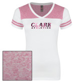 Ladies White/Heathered Pink Juniors Varsity V Neck Tee-Clark Athletics Foil