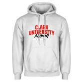 White Fleece Hoodie-Clark University Alumni Stacked