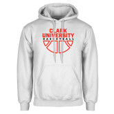 White Fleece Hoodie-Clark Cougars Basketball Stacked