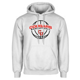 White Fleece Hoodie-Cougars Basketball Arched Ball