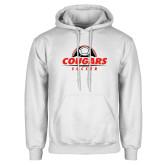 White Fleece Hoodie-Cougars Soccer Half Ball