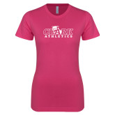 Ladies SoftStyle Junior Fitted Fuchsia Tee-Primary Logo