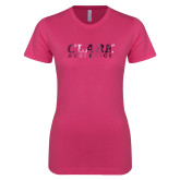 Ladies SoftStyle Junior Fitted Fuchsia Tee-Clark Athletics Foil