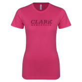 Ladies SoftStyle Junior Fitted Fuchsia Tee-Clark Athletics Hot Pink Glitter