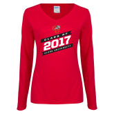Ladies Red Long Sleeve V Neck Tee-Class Of - Slanted Banners, Personalized Year