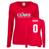 Ladies Red Long Sleeve V Neck Tee-Primary Logo, Custom Tee w/ Name and #