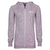 ENZA Ladies Hot Violet Marled Full Zip Hoodie-Primary Logo
