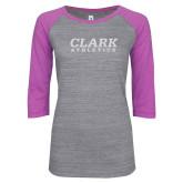 ENZA Ladies Athletic Heather/Violet Vintage Baseball Tee-Clark Athletics White Soft Glitter
