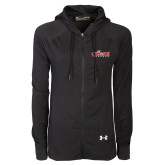 Ladies Under Armour Black Varsity Full Zip Hoodie-Secondary Logo