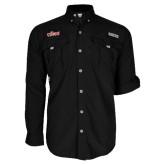Columbia Bahama II Black Long Sleeve Shirt-Secondary Logo