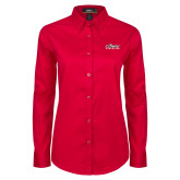 Ladies Red Twill Button Down Long Sleeve-Primary Logo