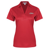 Ladies Red Performance Fine Jacquard Polo-Secondary Logo