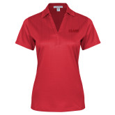Ladies Red Performance Fine Jacquard Polo-Clark Athletics